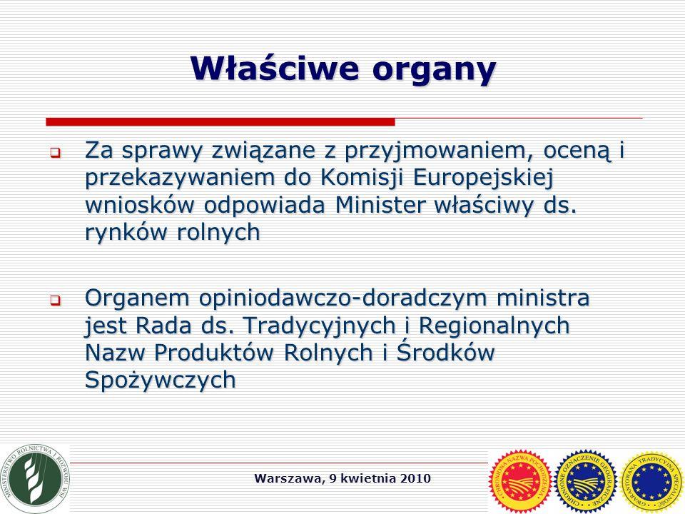 Warszawa, 9 kwietnia 2010 Wsparcie wysokojakościowych produktów  Rozporządzenie Rady (WE) nr 1698/2005 z dnia 20 września 2005 r.