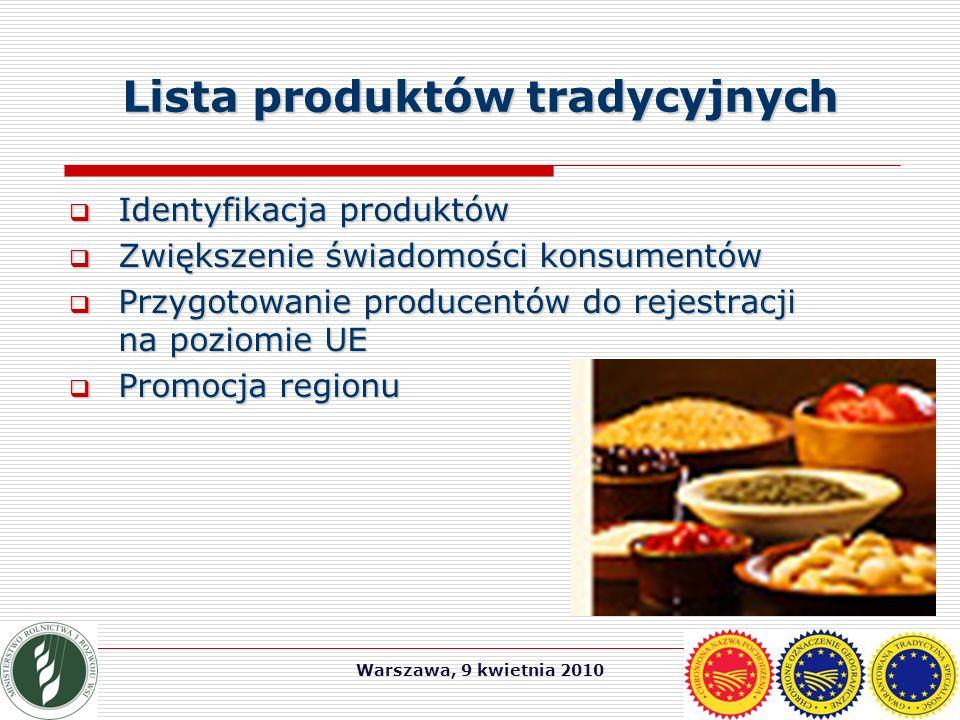Warszawa, 9 kwietnia 2010 Lista produktów tradycyjnych  Identyfikacja produktów  Zwiększenie świadomości konsumentów  Przygotowanie producentów do rejestracji na poziomie UE  Promocja regionu