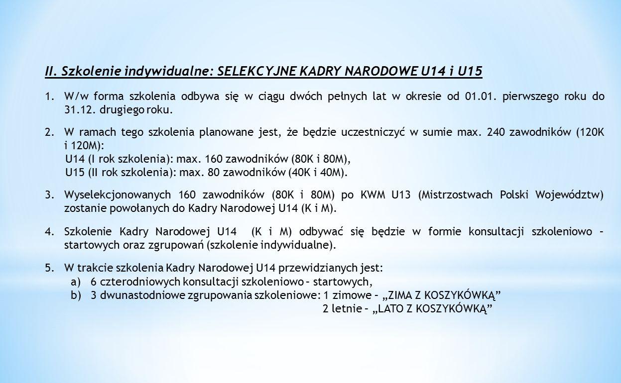 II. Szkolenie indywidualne: SELEKCYJNE KADRY NARODOWE U14 i U15 1.W/w forma szkolenia odbywa się w ciągu dwóch pełnych lat w okresie od 01.01. pierwsz