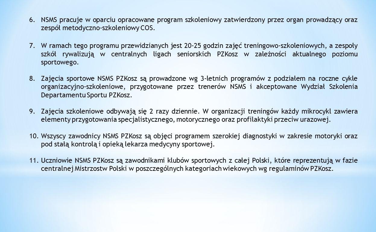 6.NSMS pracuje w oparciu opracowane program szkoleniowy zatwierdzony przez organ prowadzący oraz zespół metodyczno-szkoleniowy COS. 7.W ramach tego pr