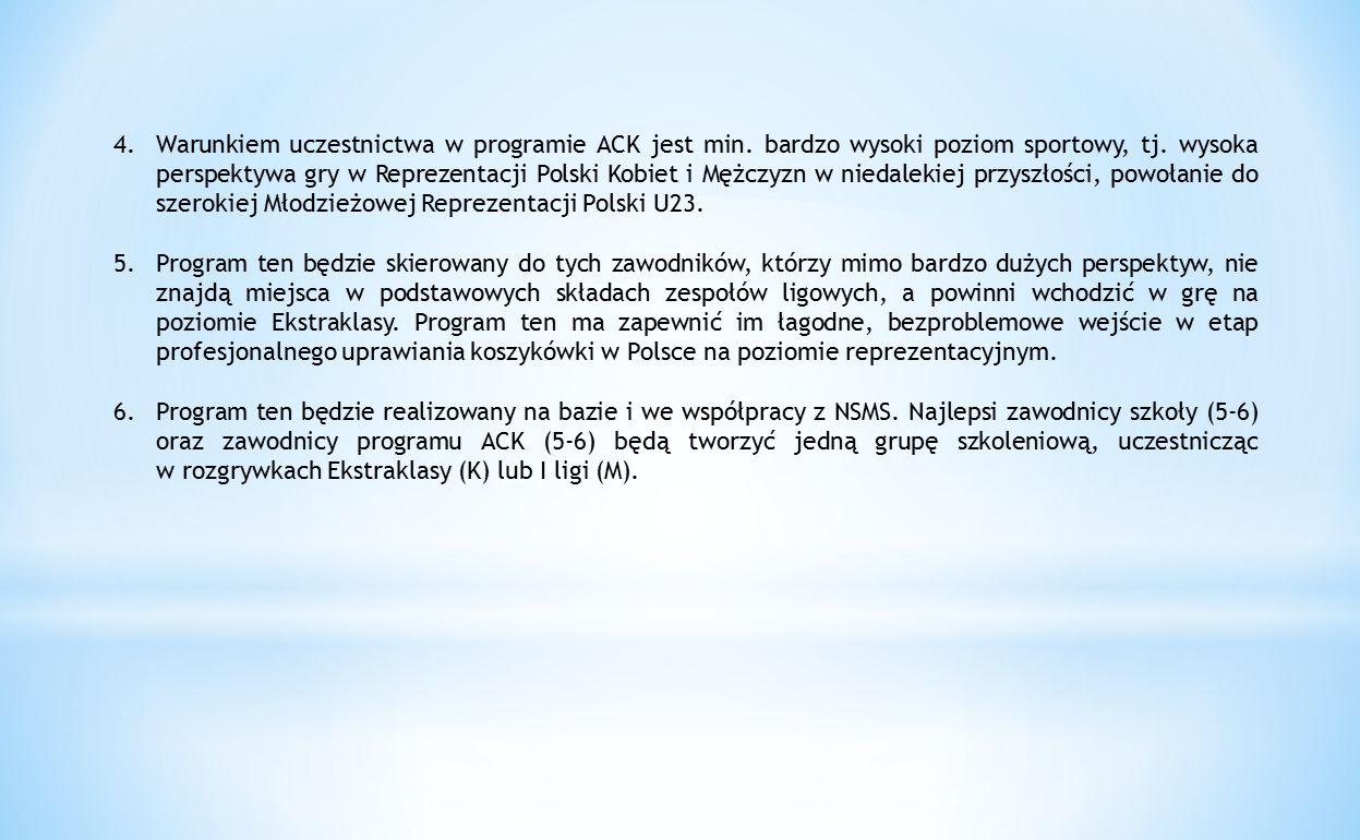 4.Warunkiem uczestnictwa w programie ACK jest min. bardzo wysoki poziom sportowy, tj. wysoka perspektywa gry w Reprezentacji Polski Kobiet i Mężczyzn