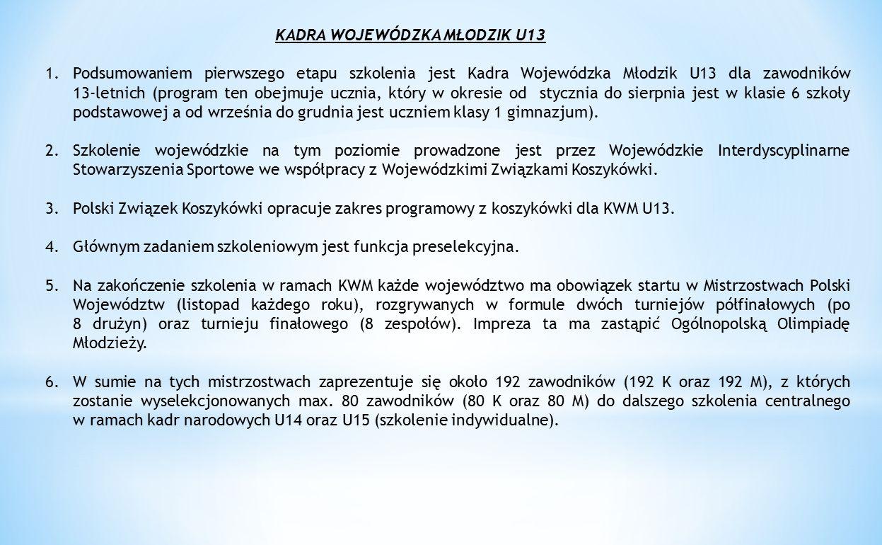 KADRA WOJEWÓDZKA MŁODZIK U13 1.Podsumowaniem pierwszego etapu szkolenia jest Kadra Wojewódzka Młodzik U13 dla zawodników 13-letnich (program ten obejm