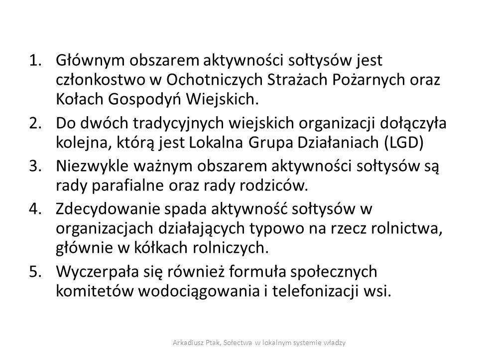 1.Głównym obszarem aktywności sołtysów jest członkostwo w Ochotniczych Strażach Pożarnych oraz Kołach Gospodyń Wiejskich. 2.Do dwóch tradycyjnych wiej