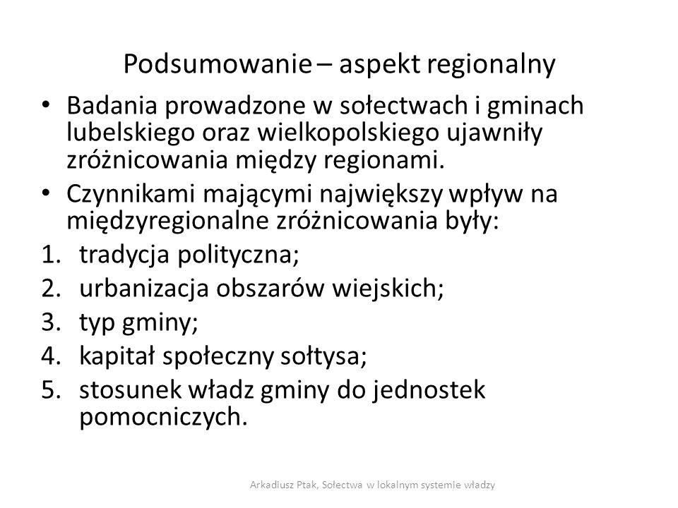Podsumowanie – aspekt regionalny Badania prowadzone w sołectwach i gminach lubelskiego oraz wielkopolskiego ujawniły zróżnicowania między regionami. C