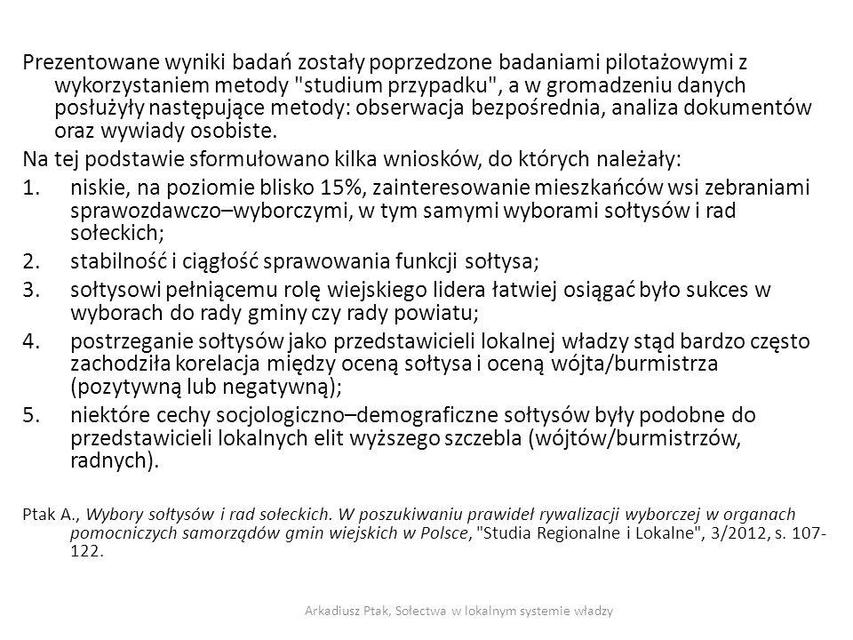 Czynniki determinujące udział w zebraniach wiejskich 1.Czynniki egzogeniczne (nie są zależne od sołectwa (sołtysa): poziom rozwoju społeczno-gospodarczego gminy; sołecki system wyborczy wielkość sołectwa.