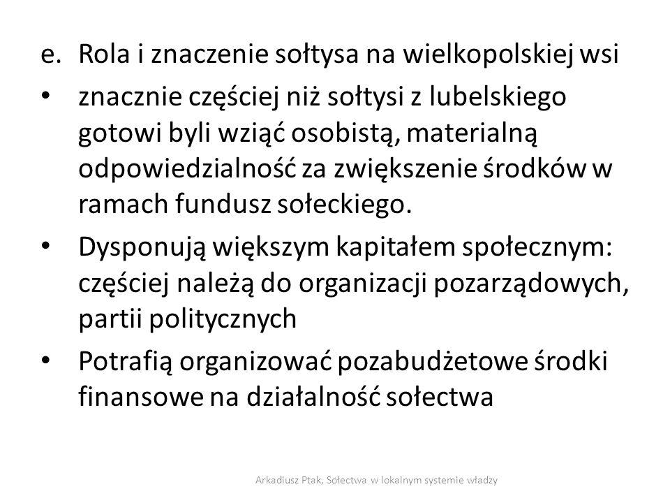 e.Rola i znaczenie sołtysa na wielkopolskiej wsi znacznie częściej niż sołtysi z lubelskiego gotowi byli wziąć osobistą, materialną odpowiedzialność z