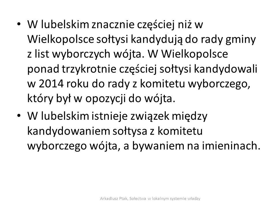 W lubelskim znacznie częściej niż w Wielkopolsce sołtysi kandydują do rady gminy z list wyborczych wójta. W Wielkopolsce ponad trzykrotnie częściej so