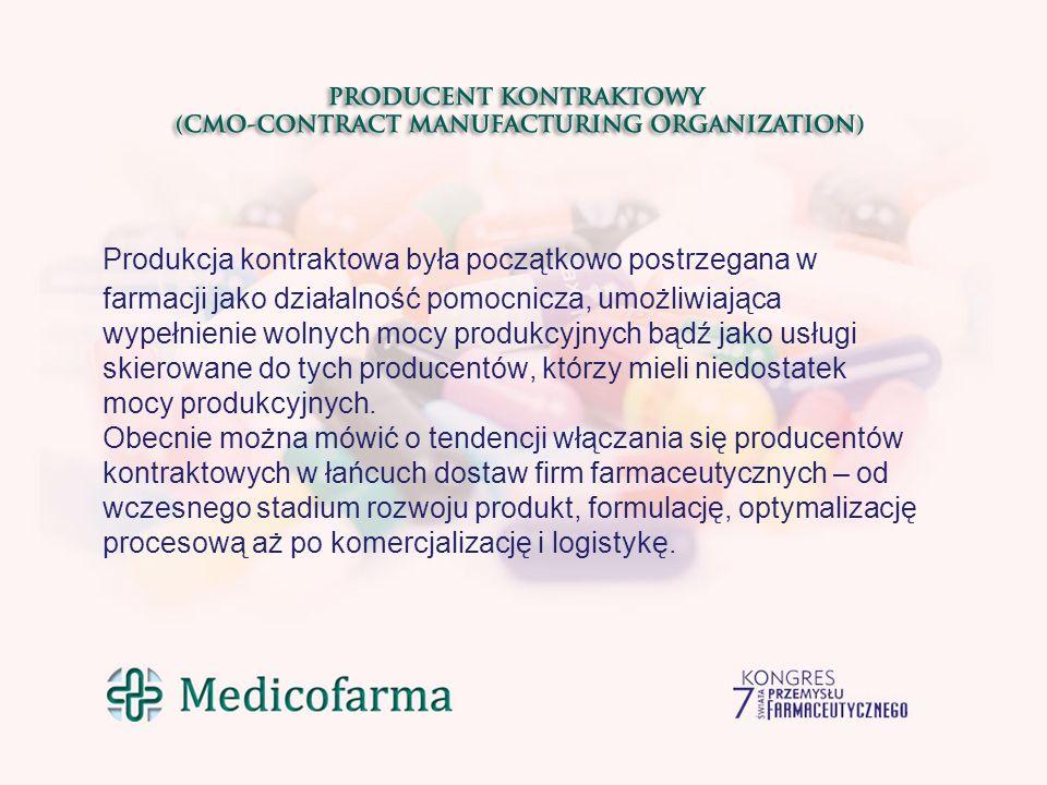 Najwięksi farmaceutyczni producenci kontraktowi w 2014r Żródło: www.pharmamanufacturing.com