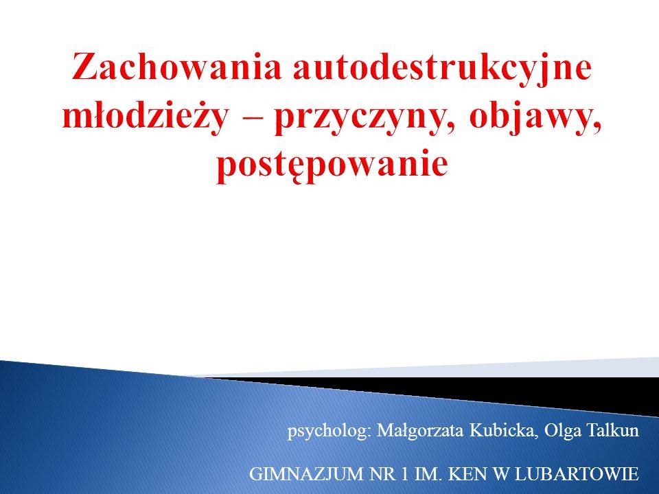 psycholog: Małgorzata Kubicka, Olga Talkun GIMNAZJUM NR 1 IM. KEN W LUBARTOWIE