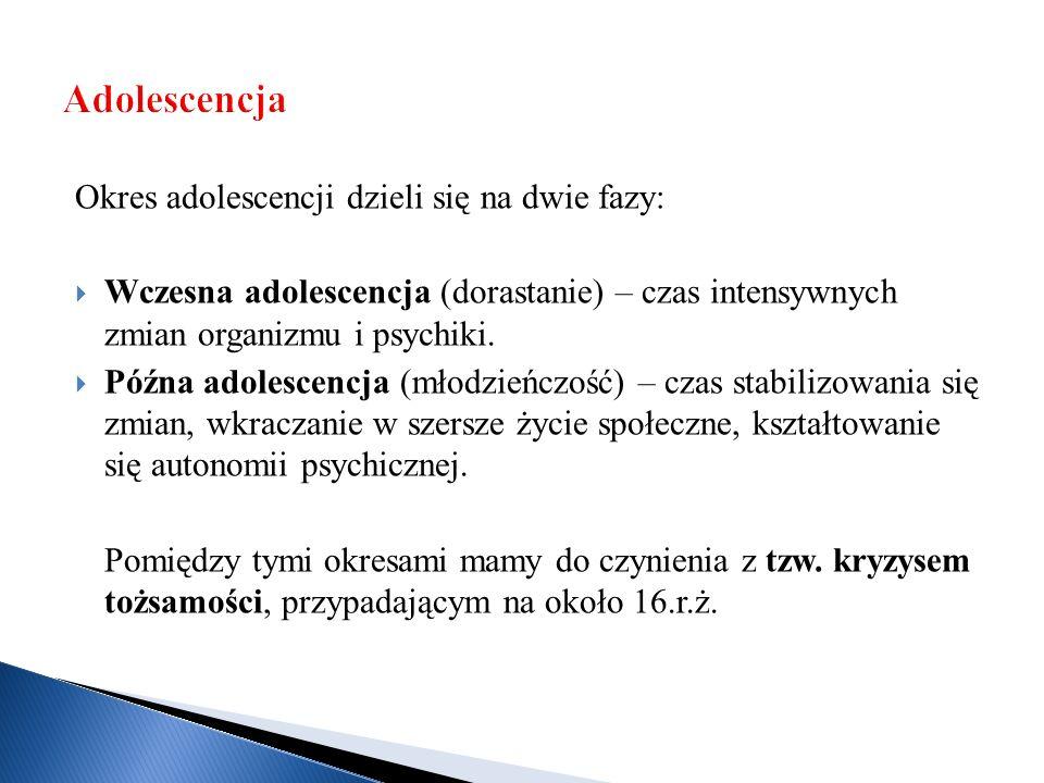Okres adolescencji dzieli się na dwie fazy:  Wczesna adolescencja (dorastanie) – czas intensywnych zmian organizmu i psychiki.