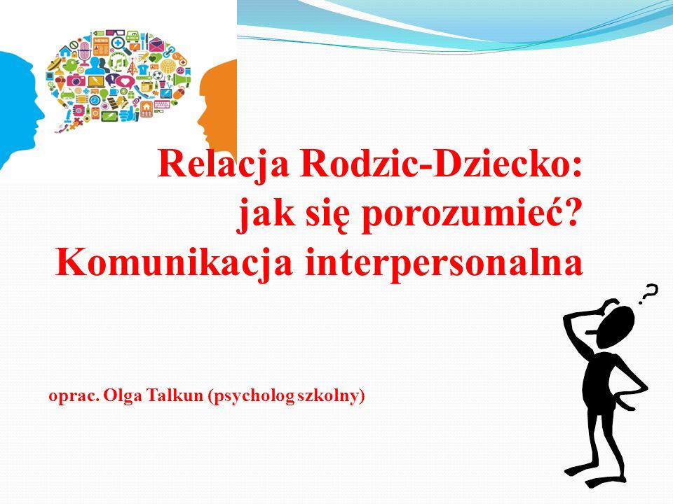 Relacja Rodzic-Dziecko: jak się porozumieć? Komunikacja interpersonalna oprac. Olga Talkun (psycholog szkolny)