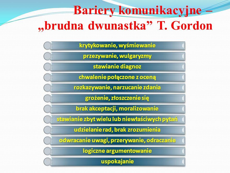"""Bariery komunikacyjne – """"brudna dwunastka"""" T. Gordon krytykowanie, wyśmiewanie przezywanie, wulgaryzmy stawianie diagnoz chwalenie połączone z oceną r"""