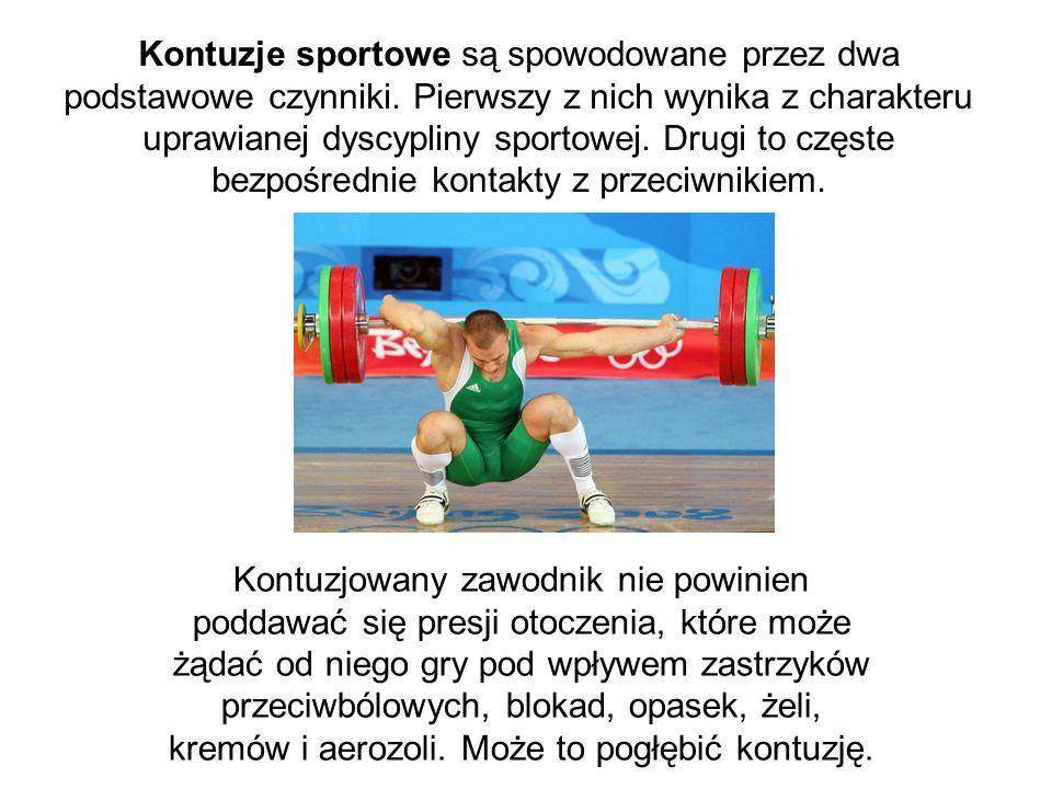 Kontuzje sportowe są spowodowane przez dwa podstawowe czynniki. Pierwszy z nich wynika z charakteru uprawianej dyscypliny sportowej. Drugi to częste b