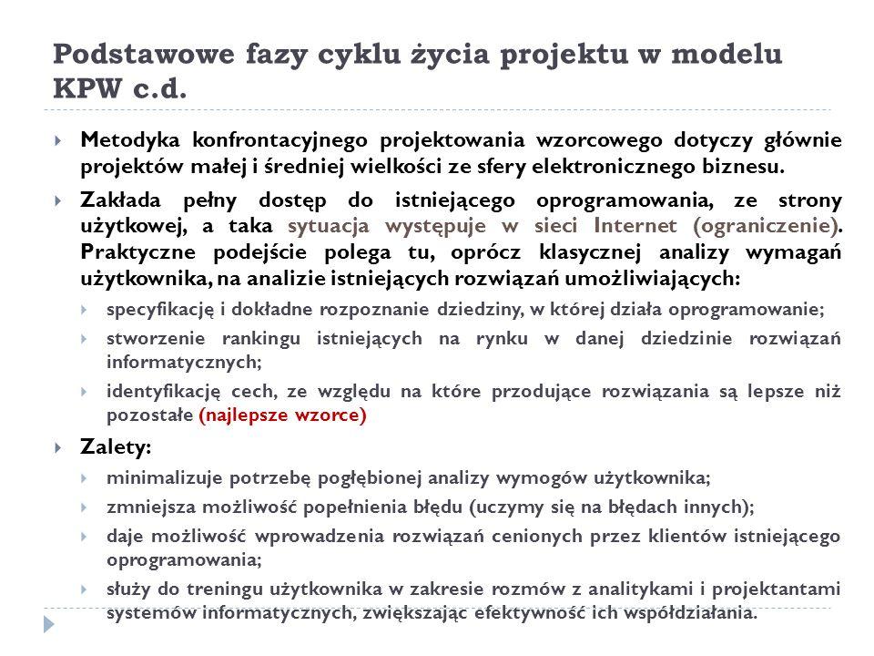 Podstawowe fazy cyklu życia projektu w modelu KPW c.d.