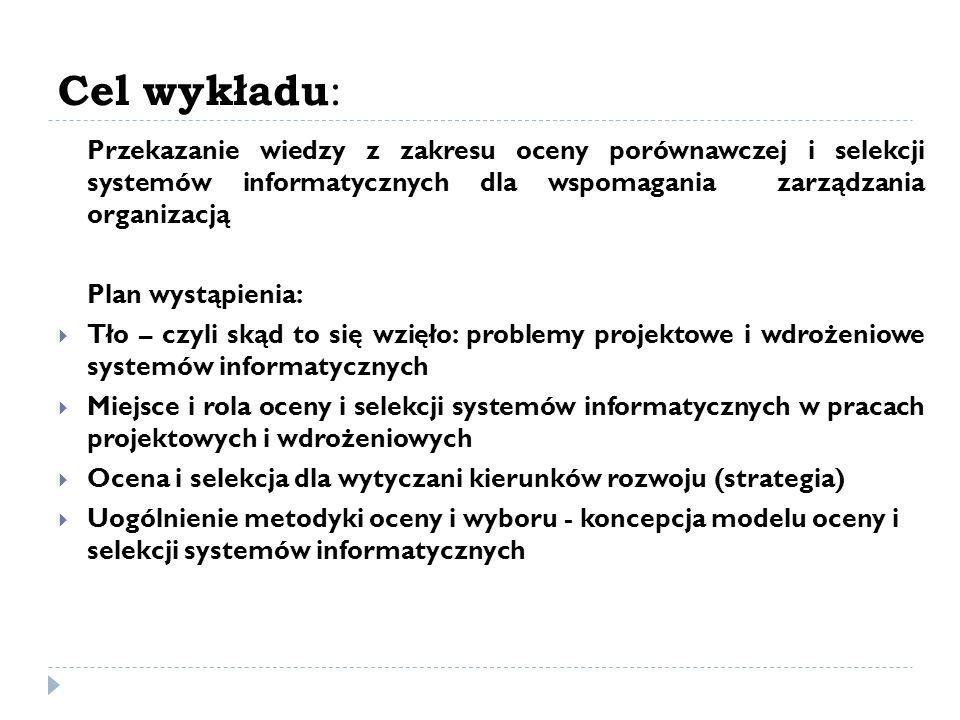 Tło: problemy projektowe i wdrożeniowe systemów informatycznych