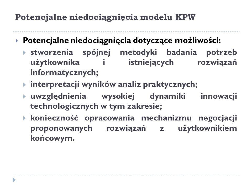Potencjalne niedociągnięcia modelu KPW  Potencjalne niedociągnięcia dotyczące możliwości:  stworzenia spójnej metodyki badania potrzeb użytkownika i istniejących rozwiązań informatycznych;  interpretacji wyników analiz praktycznych;  uwzględnienia wysokiej dynamiki innowacji technologicznych w tym zakresie;  konieczność opracowania mechanizmu negocjacji proponowanych rozwiązań z użytkownikiem końcowym.