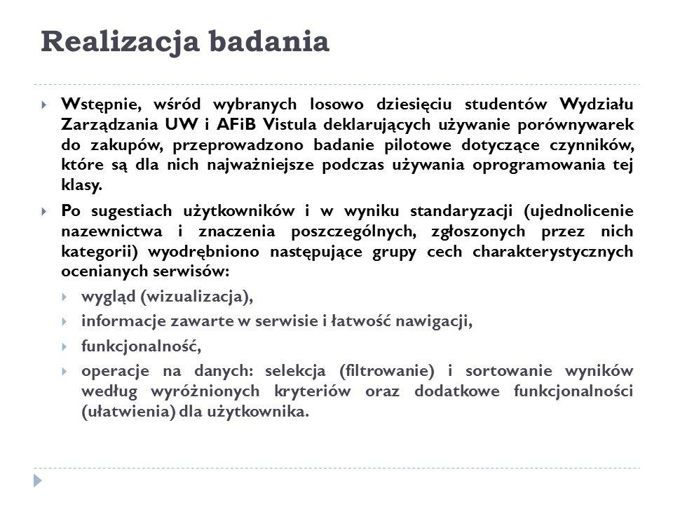 Realizacja badania  Wstępnie, wśród wybranych losowo dziesięciu studentów Wydziału Zarządzania UW i AFiB Vistula deklarujących używanie porównywarek