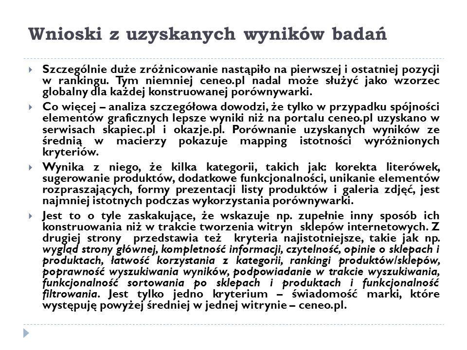 Wnioski z uzyskanych wyników badań  Szczególnie duże zróżnicowanie nastąpiło na pierwszej i ostatniej pozycji w rankingu. Tym niemniej ceneo.pl nadal