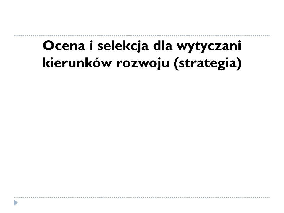 Ocena i selekcja dla wytyczani kierunków rozwoju (strategia)
