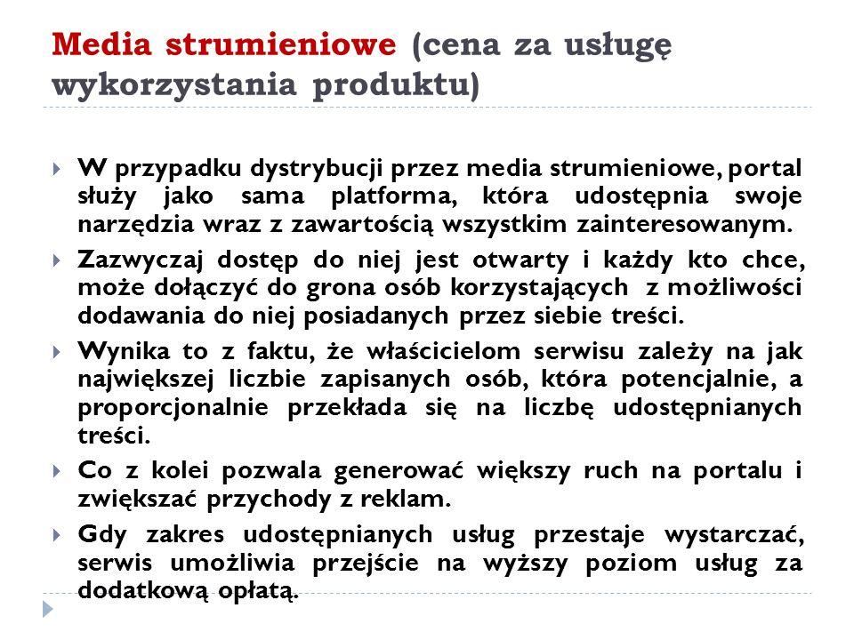 Media strumieniowe (cena za usługę wykorzystania produktu)  W przypadku dystrybucji przez media strumieniowe, portal służy jako sama platforma, która