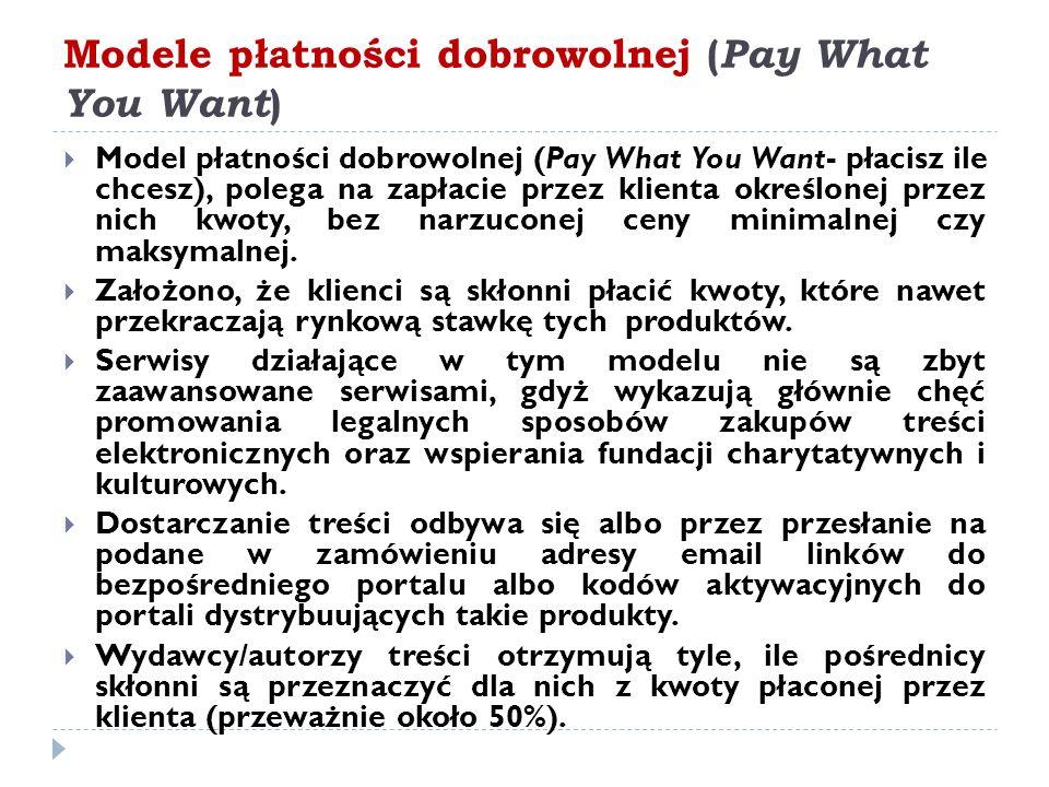 Modele płatności dobrowolnej ( Pay What You Want )  Model płatności dobrowolnej (Pay What You Want- płacisz ile chcesz), polega na zapłacie przez klienta określonej przez nich kwoty, bez narzuconej ceny minimalnej czy maksymalnej.