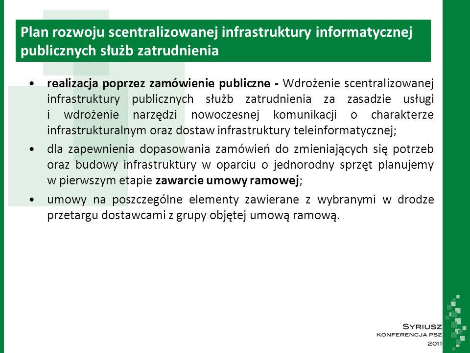 Plan rozwoju scentralizowanej infrastruktury informatycznej publicznych służb zatrudnienia realizacja poprzez zamówienie publiczne - Wdrożenie scentralizowanej infrastruktury publicznych służb zatrudnienia za zasadzie usługi i wdrożenie narzędzi nowoczesnej komunikacji o charakterze infrastrukturalnym oraz dostaw infrastruktury teleinformatycznej; dla zapewnienia dopasowania zamówień do zmieniających się potrzeb oraz budowy infrastruktury w oparciu o jednorodny sprzęt planujemy w pierwszym etapie zawarcie umowy ramowej; umowy na poszczególne elementy zawierane z wybranymi w drodze przetargu dostawcami z grupy objętej umową ramową.