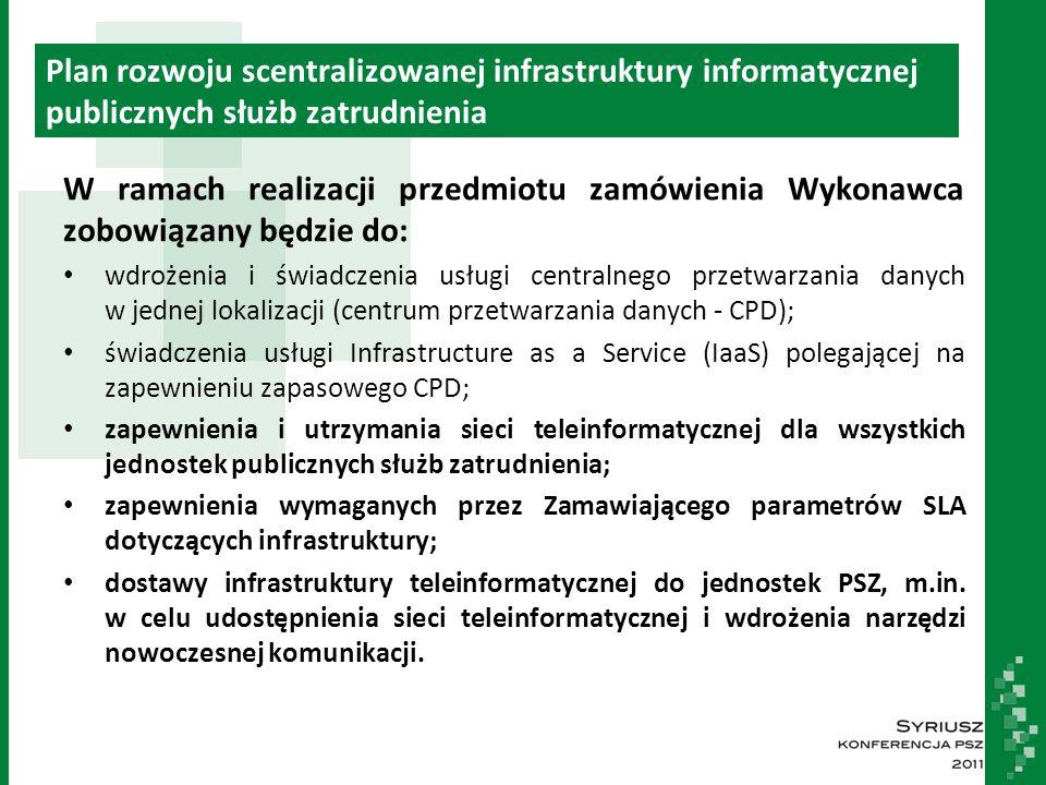 Plan rozwoju scentralizowanej infrastruktury informatycznej publicznych służb zatrudnienia W ramach realizacji przedmiotu zamówienia Wykonawca zobowiązany będzie do: wdrożenia i świadczenia usługi centralnego przetwarzania danych w jednej lokalizacji (centrum przetwarzania danych - CPD); świadczenia usługi Infrastructure as a Service (IaaS) polegającej na zapewnieniu zapasowego CPD; zapewnienia i utrzymania sieci teleinformatycznej dla wszystkich jednostek publicznych służb zatrudnienia; zapewnienia wymaganych przez Zamawiającego parametrów SLA dotyczących infrastruktury; dostawy infrastruktury teleinformatycznej do jednostek PSZ, m.in.