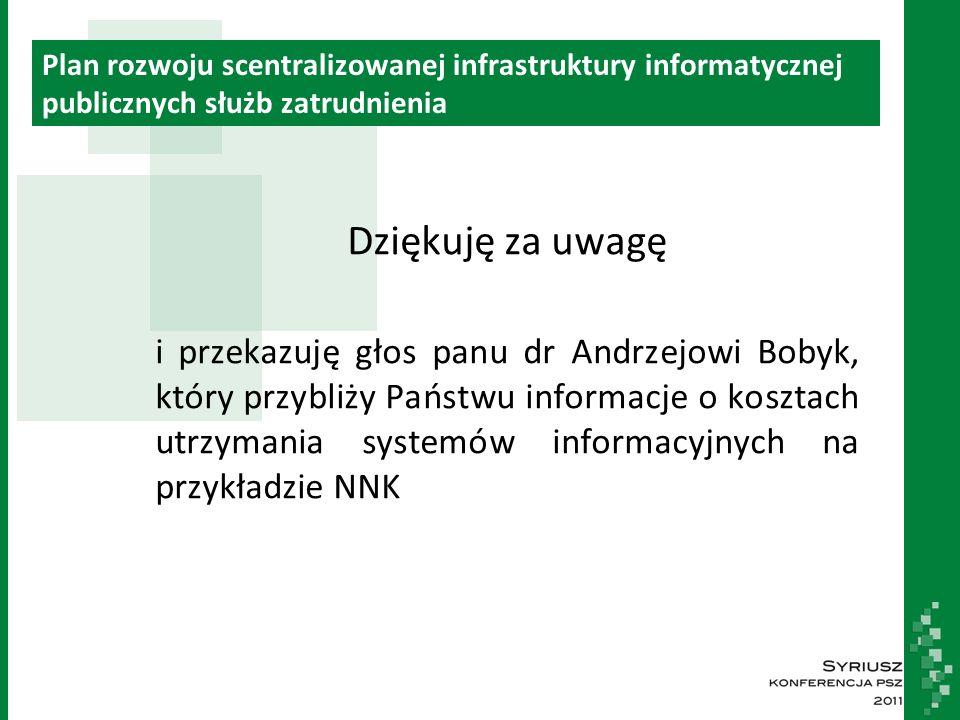 Plan rozwoju scentralizowanej infrastruktury informatycznej publicznych służb zatrudnienia Dziękuję za uwagę i przekazuję głos panu dr Andrzejowi Bobyk, który przybliży Państwu informacje o kosztach utrzymania systemów informacyjnych na przykładzie NNK
