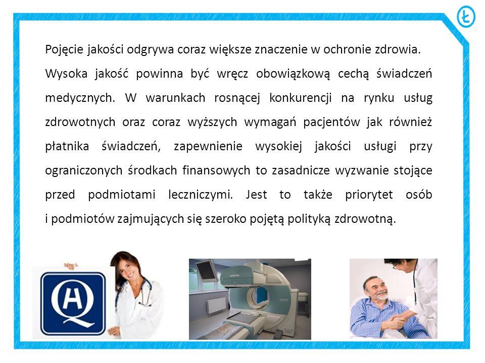 Pojęcie jakości odgrywa coraz większe znaczenie w ochronie zdrowia.