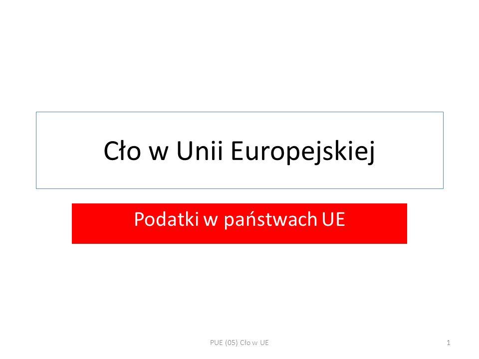 Cło w Unii Europejskiej Podatki w państwach UE PUE (05) Cło w UE1