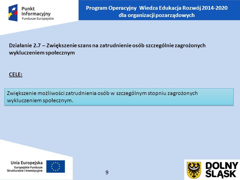 Program Operacyjny Wiedza Edukacja Rozwój 2014-2020 dla organizacji pozarządowych Działanie 2.7 – Zwiększenie szans na zatrudnienie osób szczególnie zagrożonych wykluczeniem społecznym CELE: 9