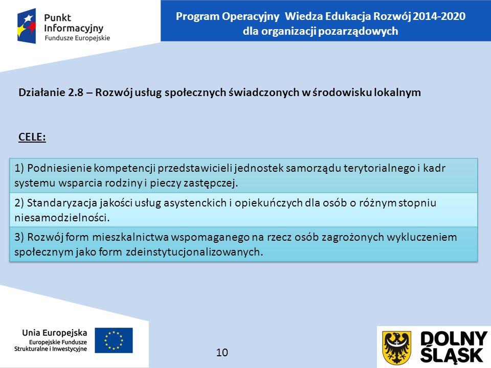 Program Operacyjny Wiedza Edukacja Rozwój 2014-2020 dla organizacji pozarządowych Działanie 2.8 – Rozwój usług społecznych świadczonych w środowisku lokalnym CELE: 10