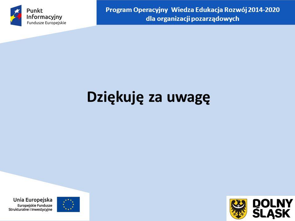 Program Operacyjny Wiedza Edukacja Rozwój 2014-2020 dla organizacji pozarządowych Dziękuję za uwagę