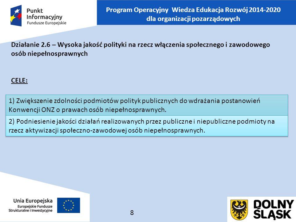 Program Operacyjny Wiedza Edukacja Rozwój 2014-2020 dla organizacji pozarządowych Działanie 2.6 – Wysoka jakość polityki na rzecz włączenia społecznego i zawodowego osób niepełnosprawnych CELE: 8
