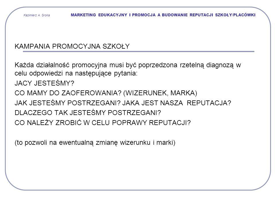 Kazimierz A. Sroka MARKETING EDUKACYJNY I PROMOCJA A BUDOWANIE REPUTACJI SZKOŁY/PLACÓWKI KAMPANIA PROMOCYJNA SZKOŁY Każda działalność promocyjna musi