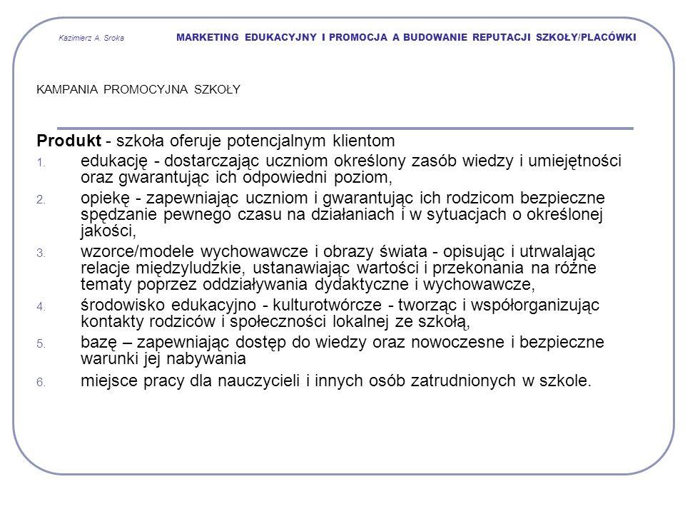 Kazimierz A. Sroka MARKETING EDUKACYJNY I PROMOCJA A BUDOWANIE REPUTACJI SZKOŁY/PLACÓWKI KAMPANIA PROMOCYJNA SZKOŁY Produkt - szkoła oferuje potencjal