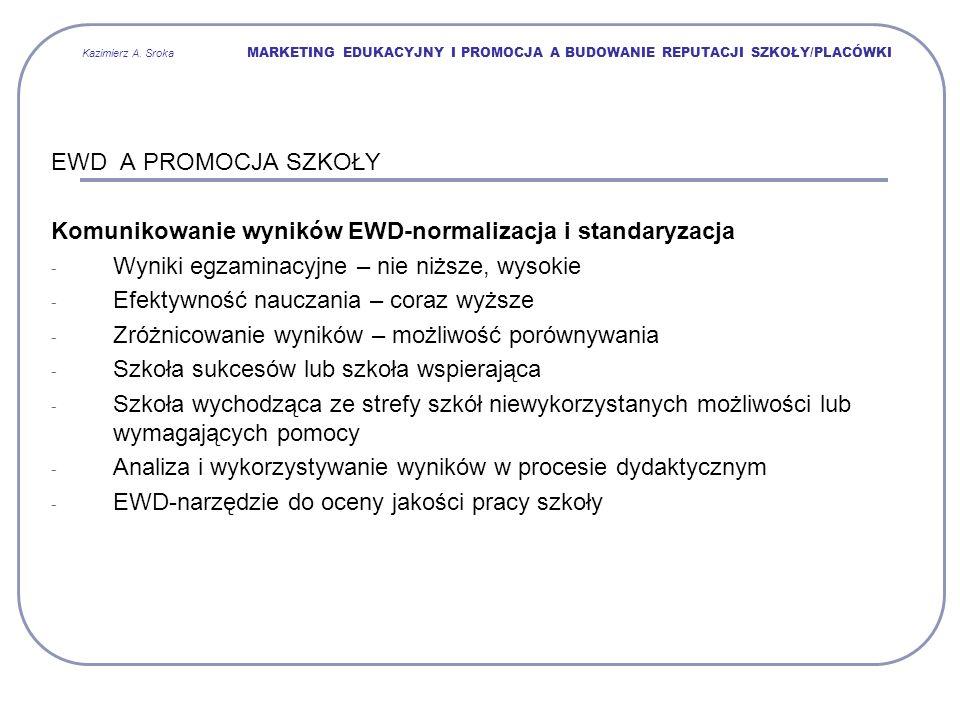 Kazimierz A. Sroka MARKETING EDUKACYJNY I PROMOCJA A BUDOWANIE REPUTACJI SZKOŁY/PLACÓWKI EWD A PROMOCJA SZKOŁY Komunikowanie wyników EWD-normalizacja