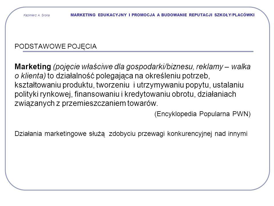 Kazimierz A. Sroka MARKETING EDUKACYJNY I PROMOCJA A BUDOWANIE REPUTACJI SZKOŁY/PLACÓWKI PODSTAWOWE POJĘCIA Marketing (pojęcie właściwe dla gospodarki