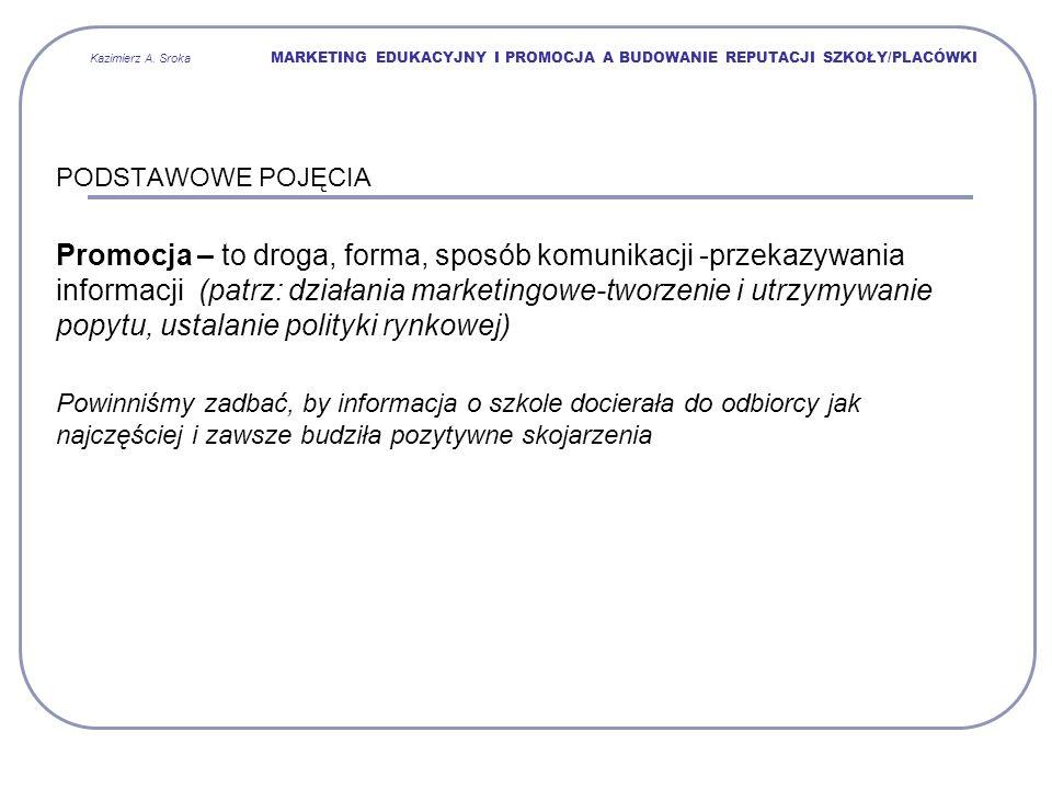 Kazimierz A. Sroka MARKETING EDUKACYJNY I PROMOCJA A BUDOWANIE REPUTACJI SZKOŁY/PLACÓWKI PODSTAWOWE POJĘCIA Promocja – to droga, forma, sposób komunik