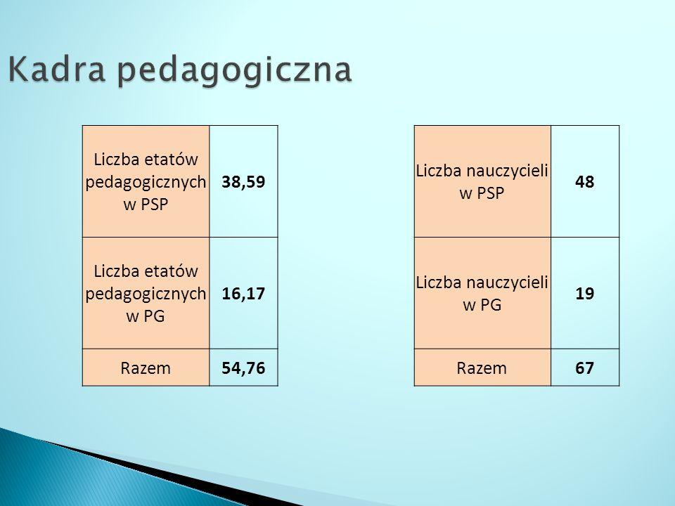 Liczba etatów pedagogicznych w PSP 38,59 Liczba nauczycieli w PSP 48 Liczba etatów pedagogicznych w PG 16,17 Liczba nauczycieli w PG 19 Razem54,76Razem67