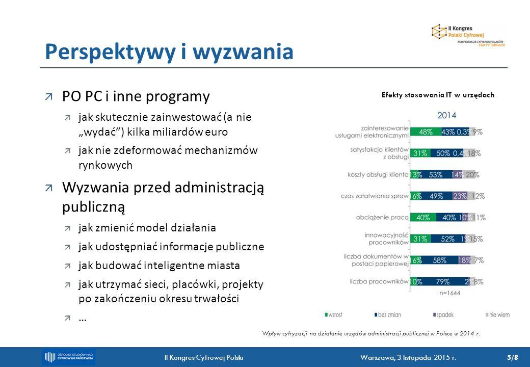 """ PO PC i inne programy  jak skutecznie zainwestować (a nie """"wydać ) kilka miliardów euro  jak nie zdeformować mechanizmów rynkowych  Wyzwania przed administracją publiczną  jak zmienić model działania  jak udostępniać informacje publiczne  jak budować inteligentne miasta  jak utrzymać sieci, placówki, projekty po zakończeniu okresu trwałości  … Perspektywy i wyzwania Wpływ cyfryzacji na działanie urzędów administracji publicznej w Polsce w 2014 r."""