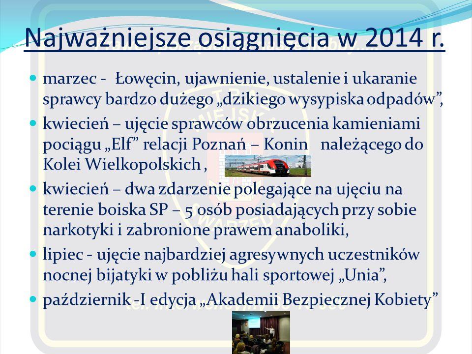 """Najważniejsze osiągnięcia w 2014 r. marzec - Łowęcin, ujawnienie, ustalenie i ukaranie sprawcy bardzo dużego """"dzikiego wysypiska odpadów"""", kwiecień –"""