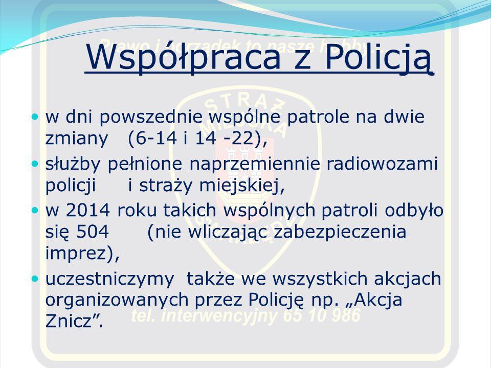 Współpraca z Policją w dni powszednie wspólne patrole na dwie zmiany (6-14 i 14 -22), służby pełnione naprzemiennie radiowozami policji i straży miejs