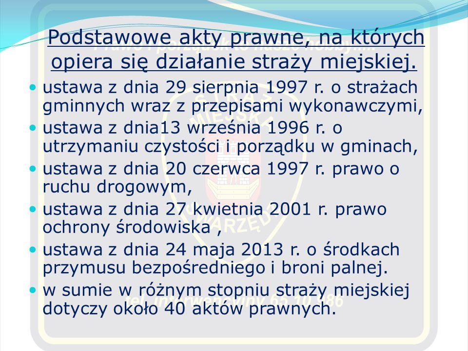 Podstawowe akty prawne, na których opiera się działanie straży miejskiej. ustawa z dnia 29 sierpnia 1997 r. o strażach gminnych wraz z przepisami wyko