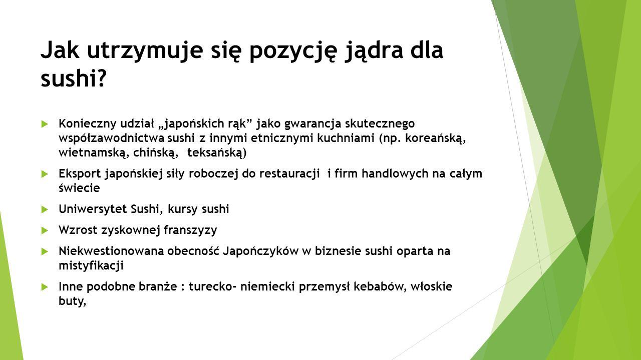 """Jak utrzymuje się pozycję jądra dla sushi?  Konieczny udział """"japońskich rąk"""" jako gwarancja skutecznego współzawodnictwa sushi z innymi etnicznymi k"""