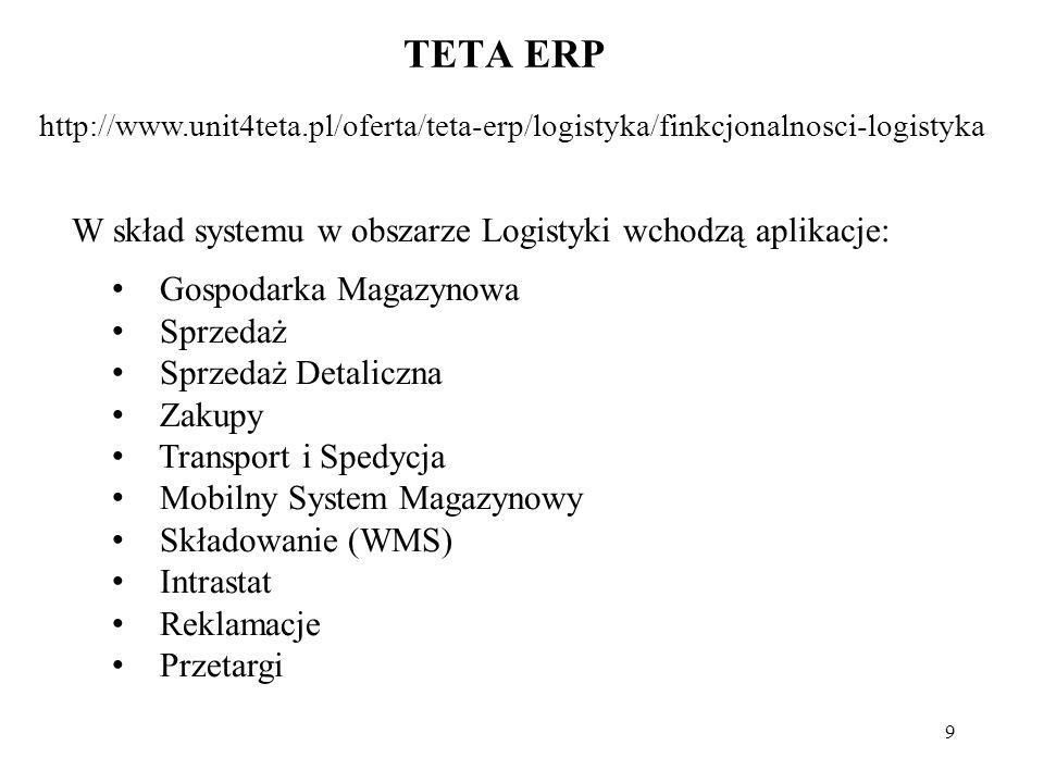 9 TETA ERP http://www.unit4teta.pl/oferta/teta-erp/logistyka/finkcjonalnosci-logistyka W skład systemu w obszarze Logistyki wchodzą aplikacje: Gospodarka Magazynowa Sprzedaż Sprzedaż Detaliczna Zakupy Transport i Spedycja Mobilny System Magazynowy Składowanie (WMS) Intrastat Reklamacje Przetargi