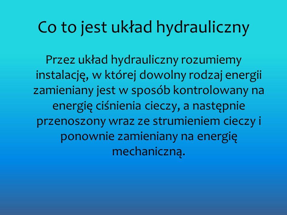 Co to jest układ hydrauliczny Przez układ hydrauliczny rozumiemy instalację, w której dowolny rodzaj energii zamieniany jest w sposób kontrolowany na energię ciśnienia cieczy, a następnie przenoszony wraz ze strumieniem cieczy i ponownie zamieniany na energię mechaniczną.