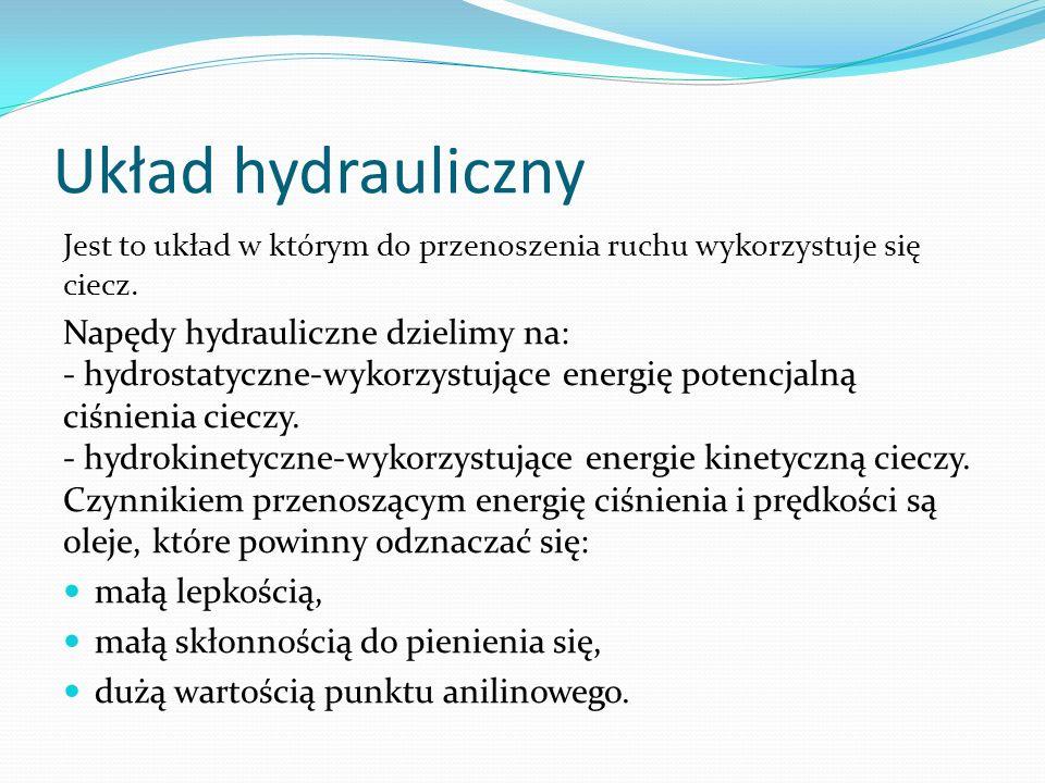 Układ hydrauliczny Jest to układ w którym do przenoszenia ruchu wykorzystuje się ciecz. Napędy hydrauliczne dzielimy na: - hydrostatyczne-wykorzystują