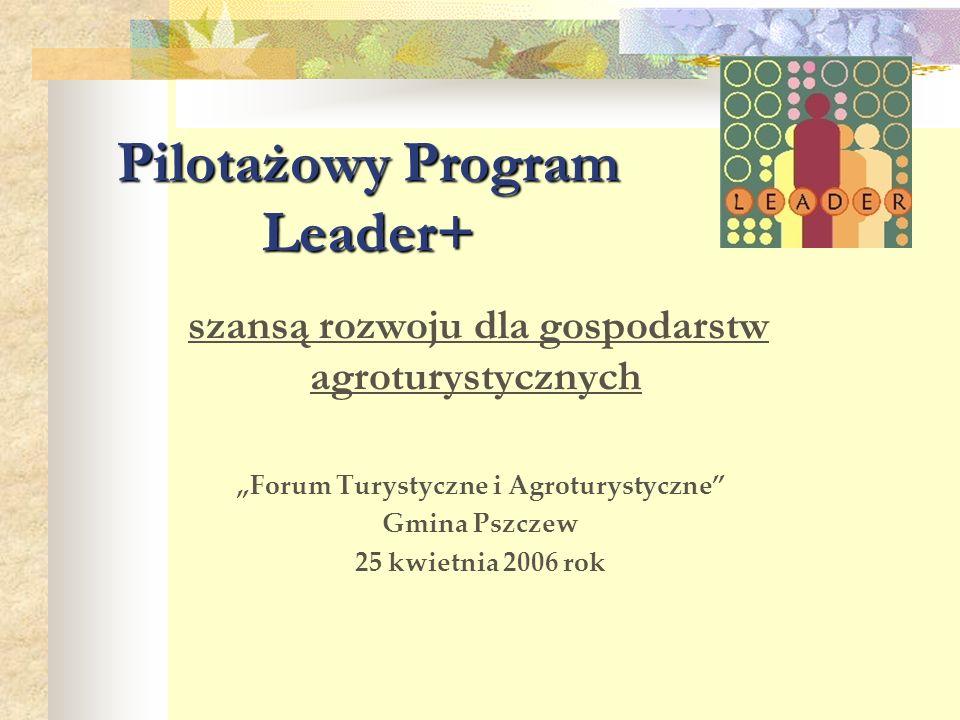 """Pilotażowy Program Leader+ szansą rozwoju dla gospodarstw agroturystycznych """"Forum Turystyczne i Agroturystyczne"""" Gmina Pszczew 25 kwietnia 2006 rok"""