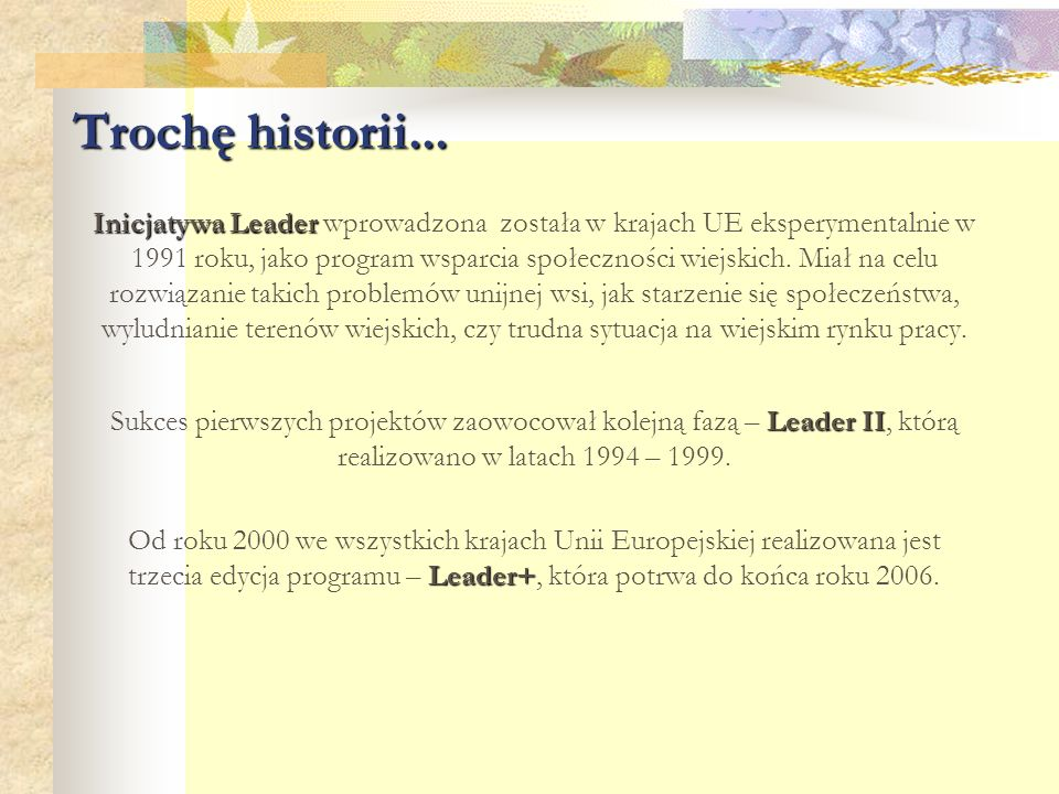 Trochę historii... Inicjatywa Leader Inicjatywa Leader wprowadzona została w krajach UE eksperymentalnie w 1991 roku, jako program wsparcia społecznoś